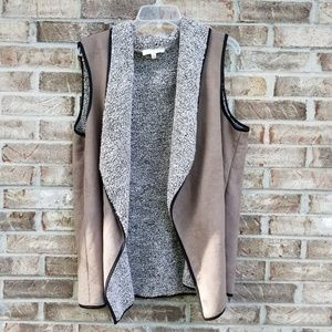 Talbots》 Brown Faux Fur Open Front suede Vest